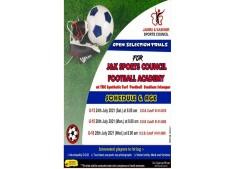 Open Selection trials for J&K Sports Council Football Academy for U-13, U-15 & U-18