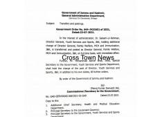 J&K Govt orders transfers and postings of KAS Officers