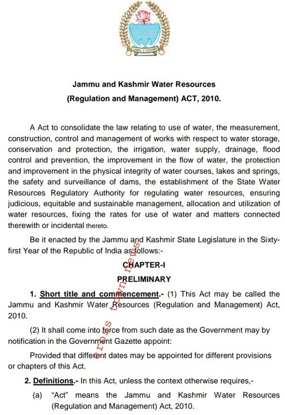 Incompetent Revenue bosses of JKUT openly misinterpreted JK Water Resources Act of 2010; Causes multi thousand crore loss