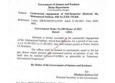J&K: Contractual engagement of  retired Sub Inspector