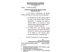 J&K Govt orders transfers and postings of JKAS Officers