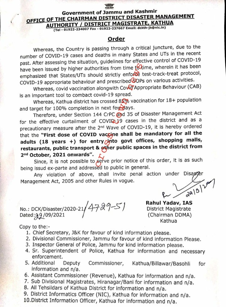 DC Kathua issues new guidelines for entry into Offices/Restaurants/Shopping Malls