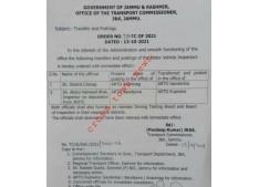 Transfer & posting of  Motor Vehicle Inspectors in J&K
