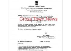 Change of nomenclature of Govt High School Kalu Chak
